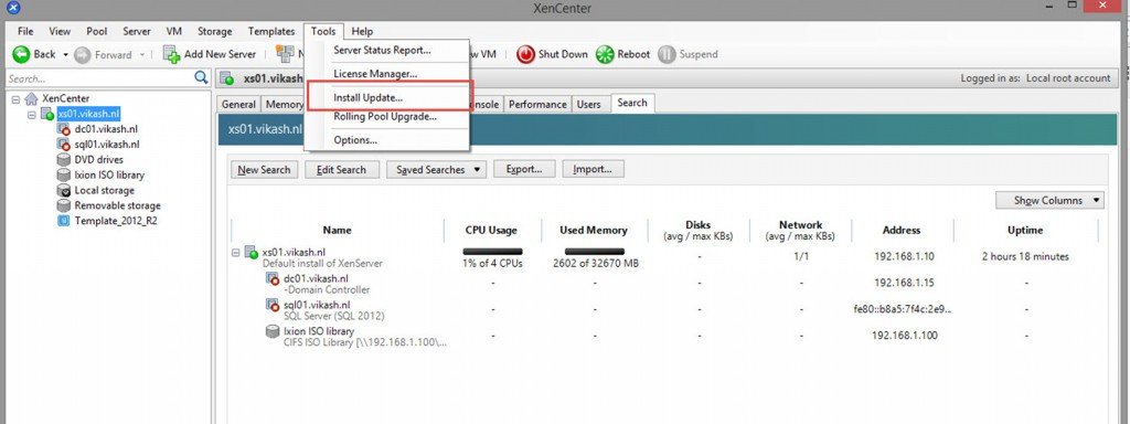 update XenServer 6.5 host with SP1