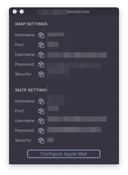 ProtonMail Bridge SMTP config with Apple Mail on macOS Big Sur - ProtonMail Bridge Mailbox Configuration window