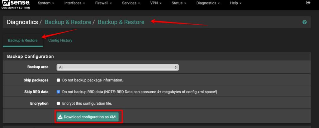 Vikash.nl - Backup & Restore pfSense configuration